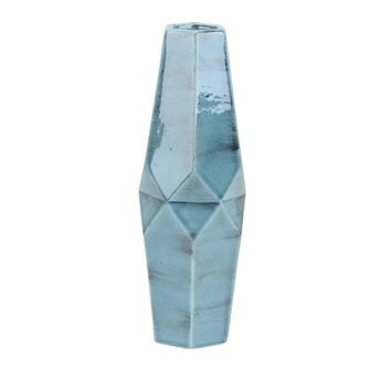 Decorative 5-Sided Ceramic Vase, Distressed Blue By Sagebrook Home