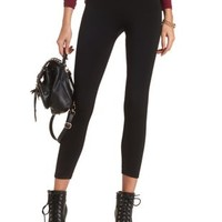 Black High Rise Faux Fur-Lined Leggings by Charlotte Russe