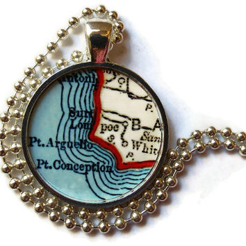 Lompoc, Pt. Conception, Santa Barbara California map necklace charm, California charms