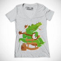 Womens Alligator Bluegrass T Shirt, Funny Mustache Gator T Shirt, Vintage Heather Grey Tee, Available in S M L XL XXL