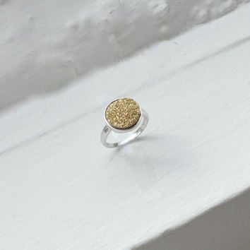 Round Gold Druzy Ring - Bezel Ring - Simple Ring - Stone Ring - Sterling Silver Ring - Gold Ring - Natural Round Druzy Ring