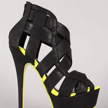 Liliana Luxy-9 Strappy Peep Toe Stiletto Heel