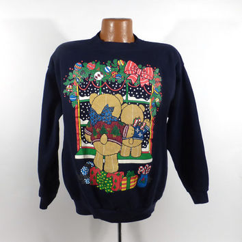 Ugly Christmas Sweater Vintage Sweatshirt Teddy bears Scene Party Xmas Tacky Holiday size XL
