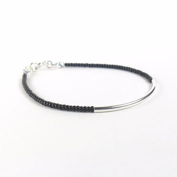 Black Seed Bead Stacking Friendship Bracelet with Sterling Silver Tube Minimalist Jewellery