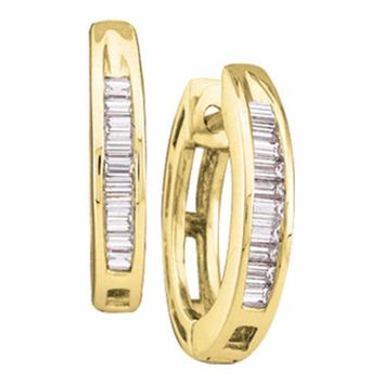 14kt Yellow Gold Women's Baguette Diamond Huggie Earrings 1-6 Cttw - FREE Shipping (US/CAN)