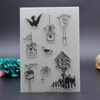 10x15CM Clear Stamp bird house home love animal DIY Scrapbook Card embossing stencil template transparent stamp