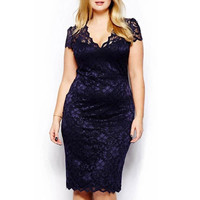 4XL XXXL XXL Plus Size Sexy Lady  Women Cut Cocktail Lace Bodycon Formal Dress Evening = 1958546756