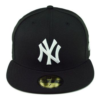 New Era 59Fifty Hat MLB New York Yankees Fitted Cap Black White Gray Undervisor