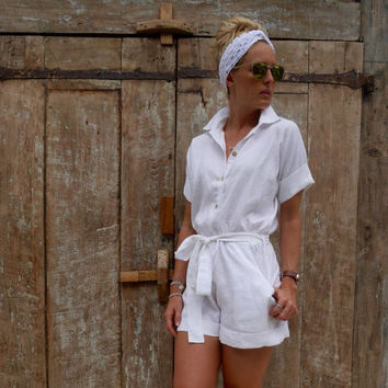 The Poppy Playsuit, Linen Playsuit  - Collared, Button Down, White Linen Jumpsuit Romper