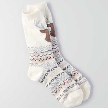 AEO Deer Crew Sock , Cream