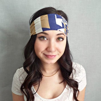 Printed Headband Bohemian Hair Accessories Blue and White Yoga Headband Hippie Headband