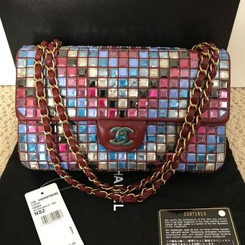 NWT Auth Chanel Runway Mosaic Tile Red Leather Classic Flap Bag Handbag $10000