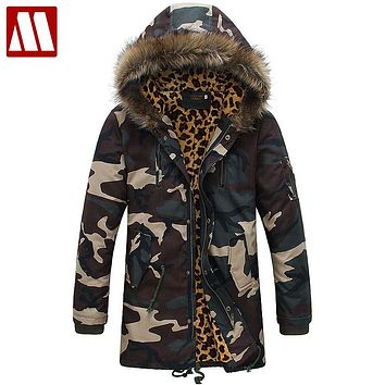 Men Winter Leopard Camouflage Cotton Jackets 2016 New Arrival Fashion Brand Men's Camo Parkas Snow Winter Coat S M L XL XXL D454