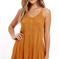 By the Beach Orange Embroidered Swing Dress