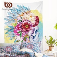 BeddingOutlet Colorful Skull and Floral Tapestry Pink Wall Hanging Flowers Printed Wall Carpet Decorative Tapestry 2 Sizes