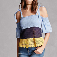 Colorblock Open-Shoulder Top