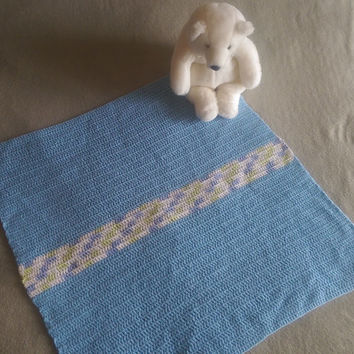 "Crochet Baby Blanket Sky Blue & Variegated 27""x29"" Heirloom Handmade Afghan Throw Crocheted Baby Boy Blanket"