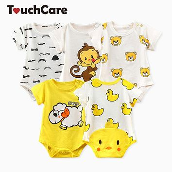 Newborn Baby Boy Girl Clothes Infant Short Sleeve Baby Romper Summer Little Yellow Duck Baby Jumpsuit Toddler Rompers