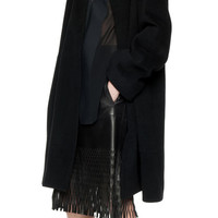 BLACK FELT ROBE COAT