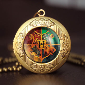 Harry Potter Hogwarts School Crest vintage pendant locket necklace girlfriend boyfriend gift Bridesmaid Gift