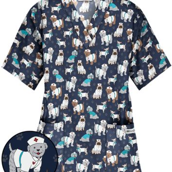 UA Doctor Dog Navy V-Neck Print Scrub Top, Vet Scrubs