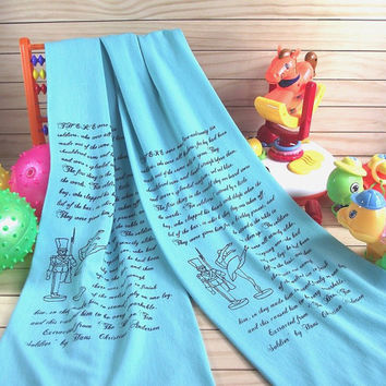 Hans Christian Andersen Toddler Scarf Quote Kids MINT Scarf -The Brave Tin Soldier- Literary Scarf Child scarf with text Children Book