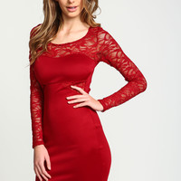 Red Shimmer Lace Bodycon Dress