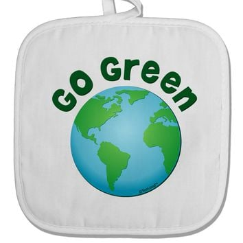 Go Green - Planet Earth White Fabric Pot Holder Hot Pad