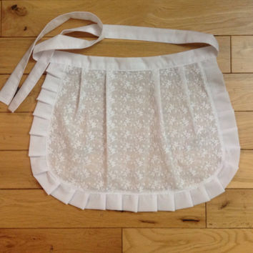 Small White Cotton apron Ruffle Apron Gift for Girls French Maid apron, House warming gift for Her, Old Fashioned Vintage inspired Apron