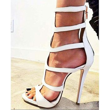 Open Toe Straps Back Zipper Ankle Boot High Heel Sandals