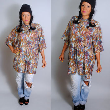 Vintage 1990s Oversize Oversized  water color earth tone print SILK button down short sleeve XL button down blouse tunic top