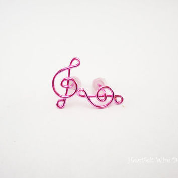 Treble Clef Earring Studs, Rose Pink