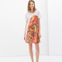 White Painted Floral Print Asymmetrical Short-Sleeve Dress