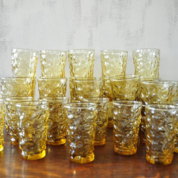 Vintage Amber Lido Milano Glasses by Anchor Hocking, Set of 33, Water Glasses, Juice Glasses, Cordial Glasses, Tumblers