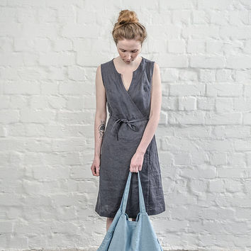 Charcoal / warm black linen wrap dress