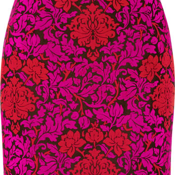 Mary Katrantzou - Renzie flocked wool-blend jacquard mini skirt