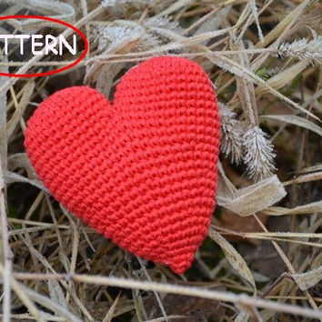 Red Valentines heart,Pattern PDF,Valentines day,Ornament,Crochet heart pattern,Home decor,Soft toy,Stuffed heart,Heart decor, KIT,  DIY