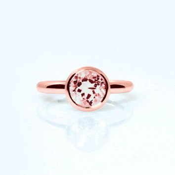 Morganite ring, Rose gold, engagement ring, solitaire, bezel, morganite engagement, pink, peach morganite