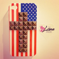 Bronze Stud Cross American Flag iPhone 4/4s Case