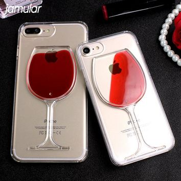 JAMULAR Liquid Quicksand Wine Glass Cover For iphone 7 8 Plus Clear Hard Case For iPhone 6 6s 8 Plus 5 5s SE Transparent Cases
