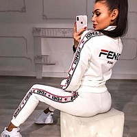 FENDI Classic Fashion Women Casual High Collar Long Sleeve Top Pants Trousers Set Two-Piece Sportswear White