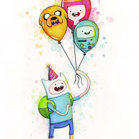 Adventure Time Birthday Art Finn holding Balloons Jake Princess Bubblegum BMO Art Print, Party, Watercolor Illustration, Kids Room Decor