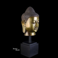 "Buddha Head 14.75""Brass Buddha Sculpture Perfect Balance Of Thought, Rest Of Senses, and Tranquility Home Decor Buddha Bust"