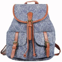 Canvas National Style Geometric Patterns Belt Flap Draw String Bucket Backpack