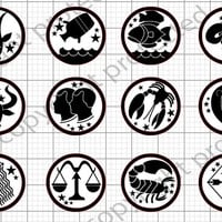 SVG File and Silhouette Zodiac Black & White Signs Print and Cut Ready Files