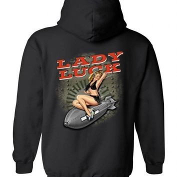Men's/Unisex Zip-Up Hoodie Sexy Vintage Lady Luck On Navy Bomb