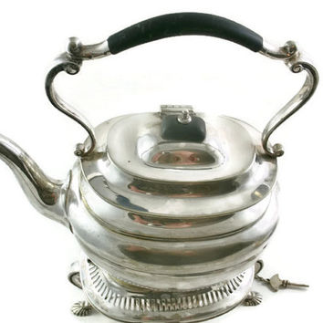 Mappin & Webb Teapot Princes Plate Tipping Pot Early 1900's Antique Triple Deposit Silver Plate Spirit Burner