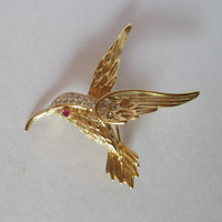 Hummingbird Pin, Vintage Brooch, Gold Tone, Rhinestones, Red Jeweled Eye, Lapel Shawl Scarf Pin