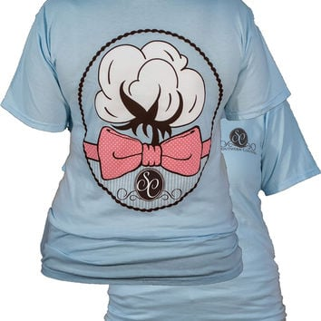 Southern Couture Preppy Cotton Bow Comfort Colors Chambray Girlie Bright T Shirt