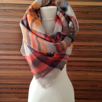 Tartan Plaid Scarf Blanket Scarf Plaid Scarf Tartan Scarf Plaid Chunky Scarf Oversized Plaid Scarf Plaid Blanket Scarf Novelty Gifts